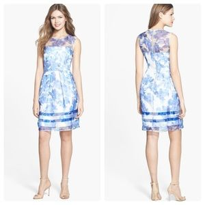 Taylor Silk Floral Fit and Flare Dress Blue White